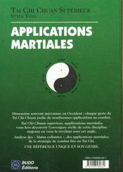 Tai Chi Chuan : Applications Martiales - 4ème de couverture - Format classique