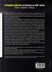 L'enquête judiciaire en Europe au XIXe siècle - 4ème de couverture - Format classique