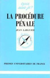 La Procedure Penale - Intérieur - Format classique