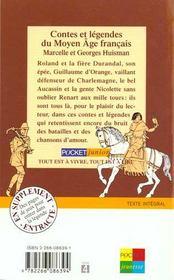 Contes & Legendes Du Moyen Age Francais - 4ème de couverture - Format classique