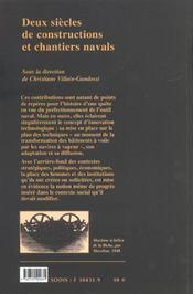 Constructions et chantiers navals ; milieu XVIIe - milieu XIXe siècle - 4ème de couverture - Format classique