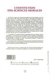 L'Institution Des Sciences Morales - 4ème de couverture - Format classique