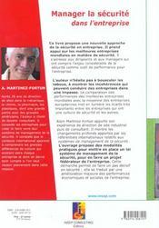 Manager La Securite - 4ème de couverture - Format classique