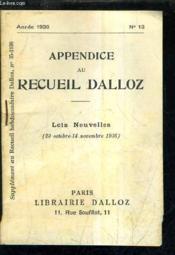 Appendice Au Recueil Dalloz N°13 Annee 1936 - Supplement Au Recueil Hebdomadaire Dalloz N°35-1936 - Lois Nouvelles 20 Octobre 14 Novembre 1936. - Couverture - Format classique