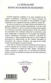 La Sexualite Dans Les Sciences Humaines - 4ème de couverture - Format classique