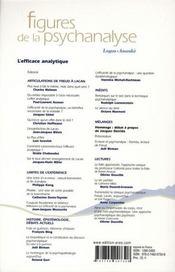 Revue figures de la psychanalyse T.15 ; l'efficace analytique - 4ème de couverture - Format classique