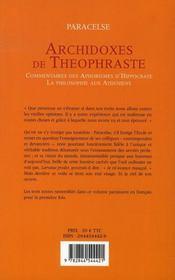 Archidoxes De Theophraste ; Commentaires Des Aphorismes D'Hippocrate ; La Philosophie Aux Atheniens - 4ème de couverture - Format classique