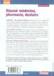 Réussir médecine, pharmacie, dentaire - 4ème de couverture - Format classique