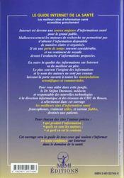 Le Guide Internet De La Sante ; Les Meilleurs Sites D'Information Sante Accessibles Gratuitement - 4ème de couverture - Format classique