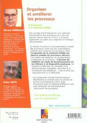 Organiser et ameliorer les processus introduction a la methode efpro - 4ème de couverture - Format classique