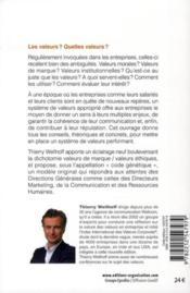 Les valeurs ; donner du sens, guider la communication, construire la réputation - 4ème de couverture - Format classique