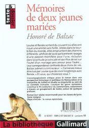 Mémoires de deux jeunes mariées - 4ème de couverture - Format classique