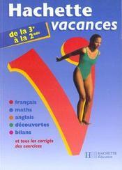 Hachette Vacances ; De La 3ème A La 2nde - Intérieur - Format classique