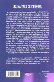 Les maitres de l'europe - 4ème de couverture - Format classique