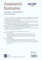 Anatomie humaine. descriptive, topographique et fonctionnelle. membres - 4ème de couverture - Format classique