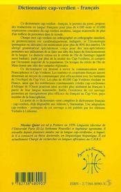 Dictionnaire cap-verdien-francais - 4ème de couverture - Format classique
