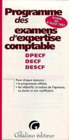 Programme des examens d'expertise comptable. (dpecf-decf-descf). nouveau regime - Couverture - Format classique
