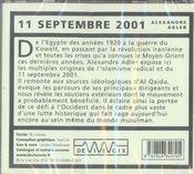 11 septembre 2001 - 4ème de couverture - Format classique