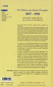 Emile Zola ; oeuvres complètes t.18 ; de l'affaire aux Quatres Evangiles 1897-1901 - 4ème de couverture - Format classique