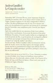 Coup du cavalier (le) - 4ème de couverture - Format classique