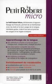 Dictionnaire Le petit Robert micro - 4ème de couverture - Format classique