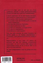 Code Administratif - 4ème de couverture - Format classique