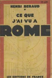 Ce que j'ai vu à Rome - Couverture - Format classique