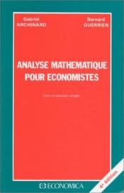 Analyse Mathematique Pour Economistes - Couverture - Format classique