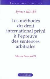 Les methodes du droit international prive a l'epreuve des sentences arbitrales - Intérieur - Format classique