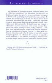 Les methodes du droit international prive a l'epreuve des sentences arbitrales - 4ème de couverture - Format classique