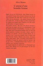 L'Amour D'Une Honnete Femme - 4ème de couverture - Format classique
