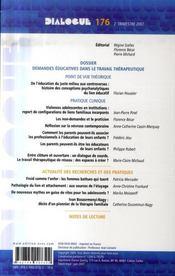 DIALOGUE N.176 ; demandes éducatives dans le travail thérapeutique - 4ème de couverture - Format classique