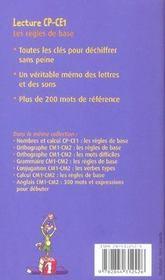 Lecture CP/CE1 ; les règles de base - 4ème de couverture - Format classique