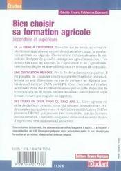 Bien choisir sa formation agricole - 4ème de couverture - Format classique
