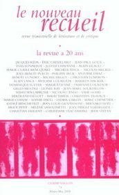 Le Nouveau Recueil N.74 ; La Revue A Vingt Ans - Intérieur - Format classique