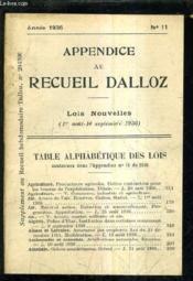 Appendice Au Recueil Dalloz N°11 Annee 1936 - Supplement Au Recueil Hebdomadaire Dalloz N°29-1936 - Lois Nouvelles 1er Aout - 10 Septembre 1936. - Couverture - Format classique