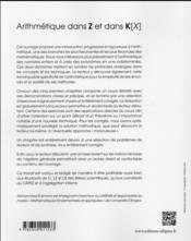 Arithmetique dans z et dans k[x] - cours complet avec exercices et problemes corriges - 4ème de couverture - Format classique