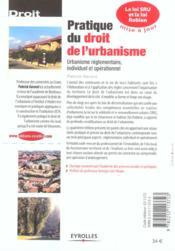 Pratique du droit de l'urbanisme ; urbanisme réglementaire, individuel et opérationnel (édition 2003) - 4ème de couverture - Format classique