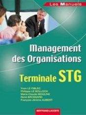 Management des organisations ; terminale STG ; manuel de l'élève - Couverture - Format classique