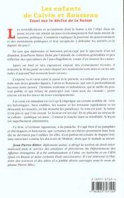 Les Enfants De Calvin Et Rousseau ; Essai Sur Le Declin Suisse - 4ème de couverture - Format classique