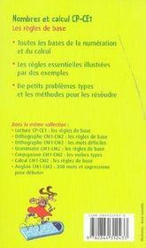 Nombres et calcul CP/CE1 ; les règles de base - 4ème de couverture - Format classique