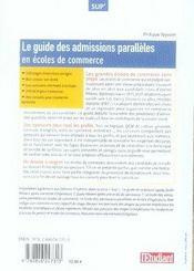 Le guide des admissions paralleles en ecoles de commerce (edition 2007-2008) - 4ème de couverture - Format classique