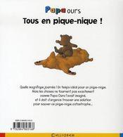 Papa ours ; tous en pique-nique - 4ème de couverture - Format classique