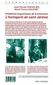Problèmes linguistiques de la traduction ; l'horlogerie de Saint-Jérôme - 4ème de couverture - Format classique