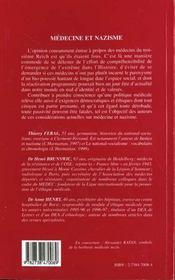 Medecine Et Nazisme ; Considerations Actuelles - 4ème de couverture - Format classique