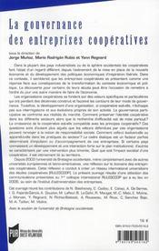 La gouvernance des entreprises coopératives - 4ème de couverture - Format classique