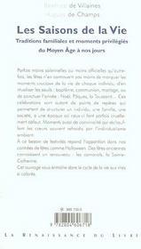 Les Saisons De La Vie ; Traditions Familiales Et Moments Privilegies Du Moyen-Age A Nos Jours - 4ème de couverture - Format classique