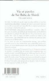 Vie et paroles de saï baba de shirdi ; un saint indien - 4ème de couverture - Format classique