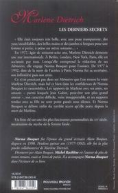 Marlène Dietrich, les derniers secrets - 4ème de couverture - Format classique