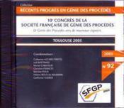 Recents progres en genie des procedes n. 92 : 10. congres de la sfgp : le genie des procedes vers de - Couverture - Format classique